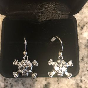 Skull earrings silver plated with crystal details